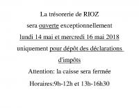 Ouverture exceptionnelle trésorerie de Rioz mai 2018